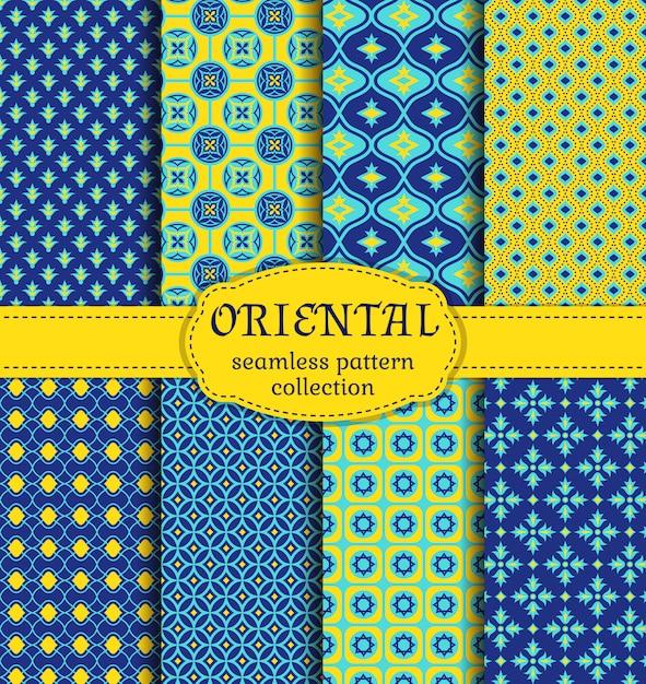 Oriental seamless patterns set Premium Vector