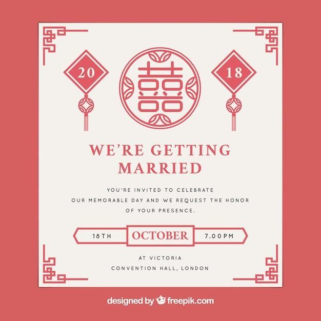 Oriental wedding card design Vector | Free Download