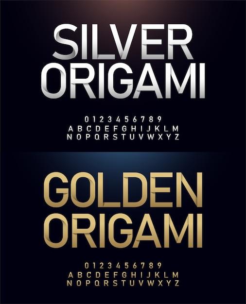 Origami alphabet and number japanese paper cut concept Premium Vector