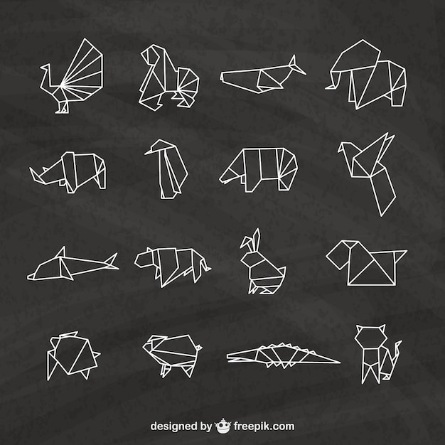 Origami Animals Pack Premium Vector