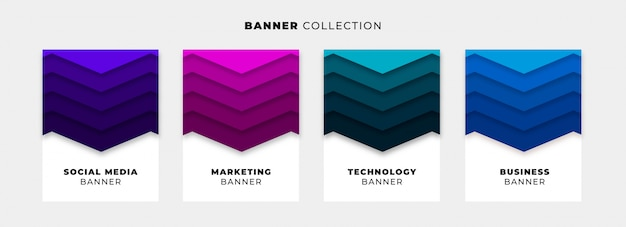 Origami banner collection with vibrant backgrounds Free Vector