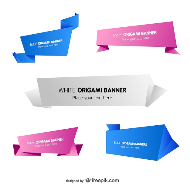 origami banner templates set vector free download