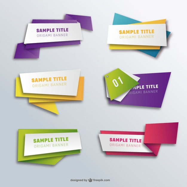 Origami banners pack Free Vector