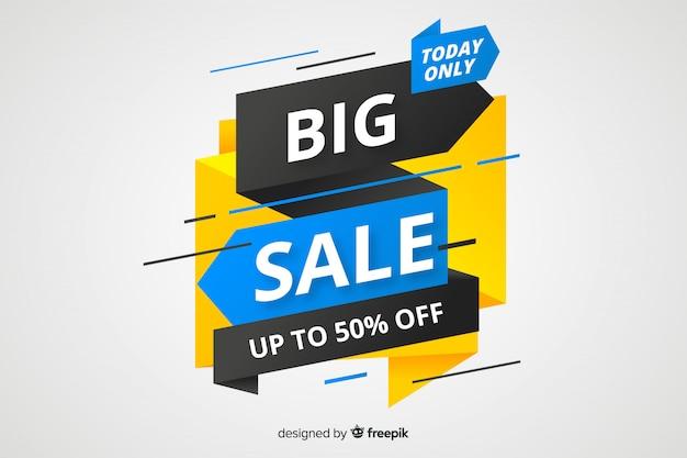 Origami big sale banner Free Vector
