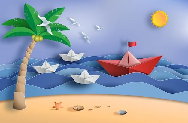 Оригами лодка плывет в океане, концепция лидерства. Premium векторы