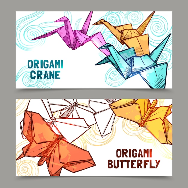 Origami butterflies and cranes banners set Free Vector