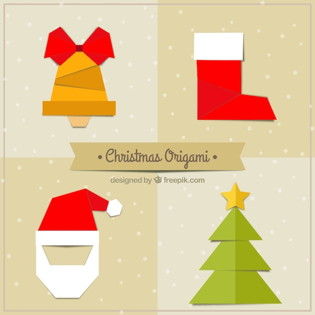 origami christmas collection vector free download