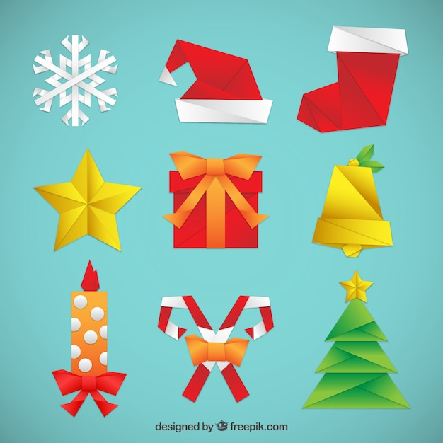 Christmas Origami.Origami Christmas Elements Set Vector Free Download