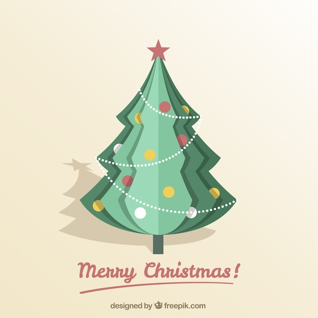 origami christmas tree background vector free download