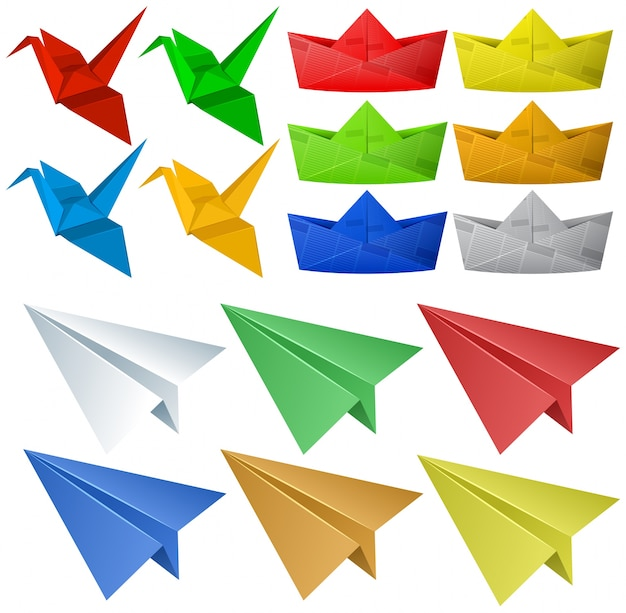 Origami Craft With Birds And Planes Vector Free Download