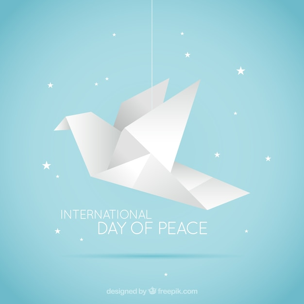 Origami Dove With A Starry Background Free Vector