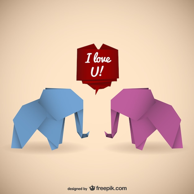 Origami Elephants With Love Message Free Vector