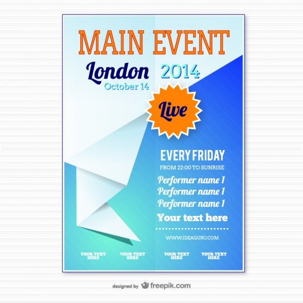 Origami event poster template vector free download for Free poster design templates