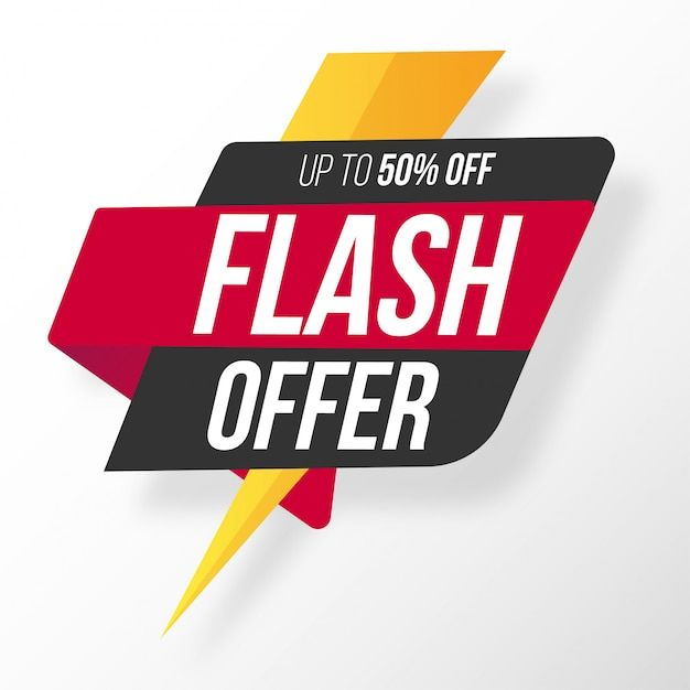 Origami flash offer Free Vector