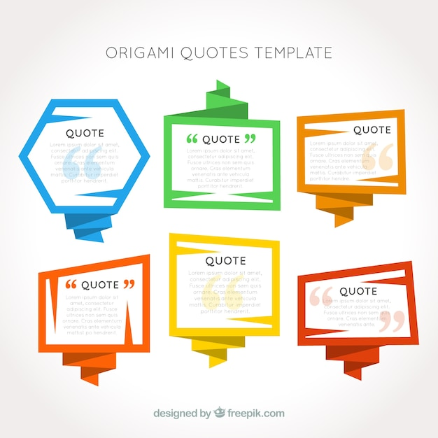 Origami frames quotes template Vector | Free Download