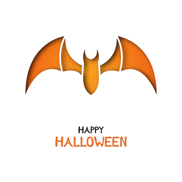 Origami greeting card with bat for halloween celebration. Premium Vector
