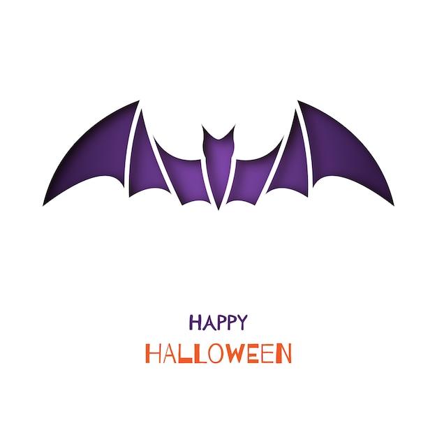 Origami greeting card with bat. Premium Vector
