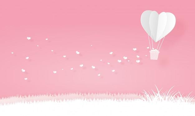 Origami heart shape hot air balloons Premium Vector