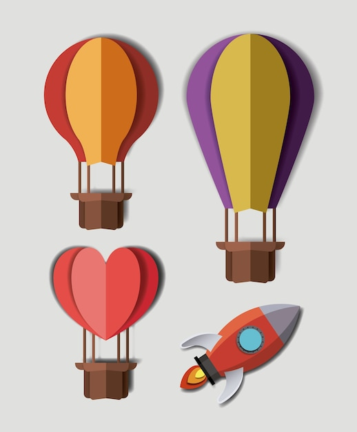 Origami Hot Air Balloons And Spacecraft Vector Premium Download