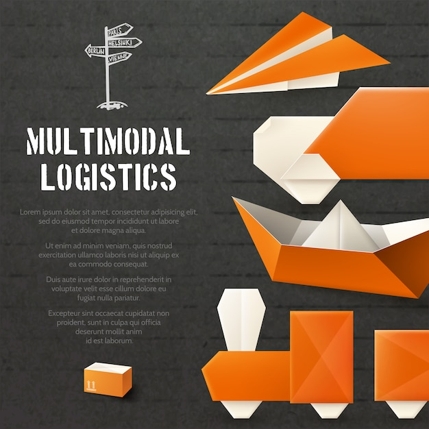 Origami logistic background Free Vector