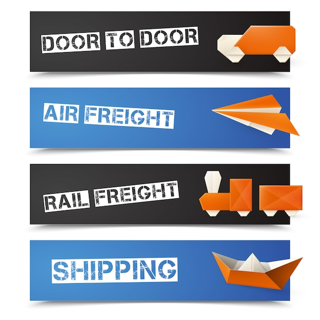 Origami logistic banners Free Vector