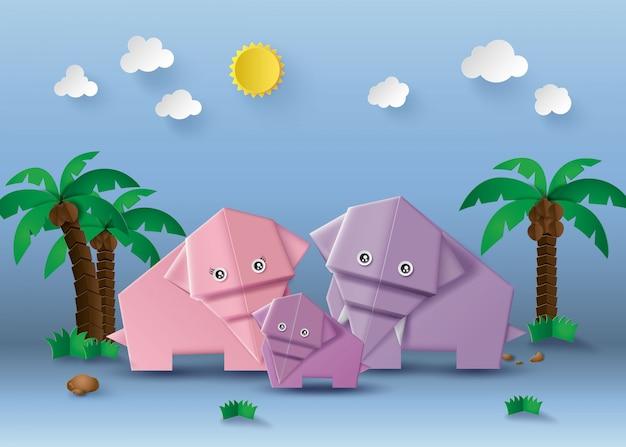 Оригами сделал слона. Premium векторы
