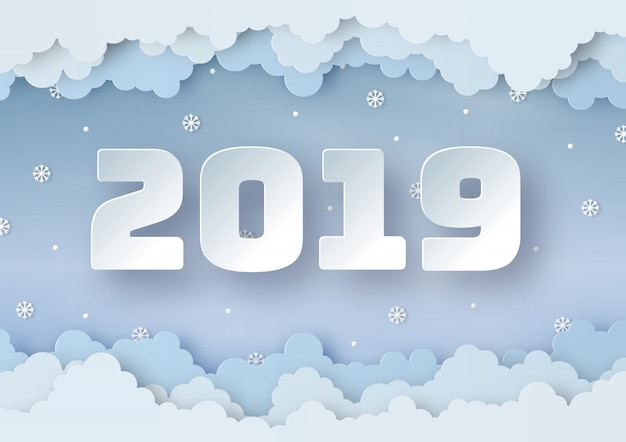 Origami made happy new year 2019 of winter weather Premium Vector