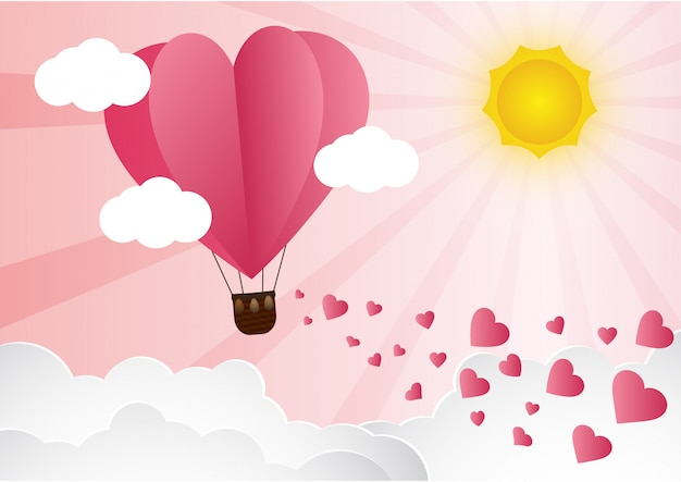 Origami Made Hot Air Balloon Flying Vector Premium Download