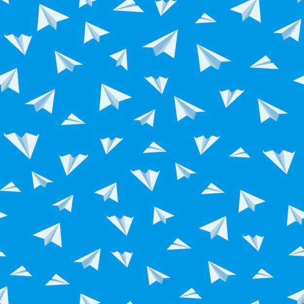 Origami paper airplane vector seamless background Premium Vector