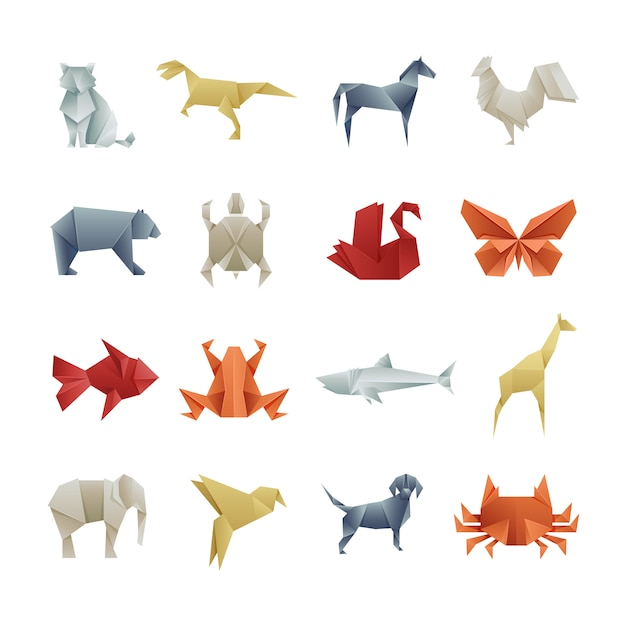 Origami paper animals asian creative vector art Premium Vector