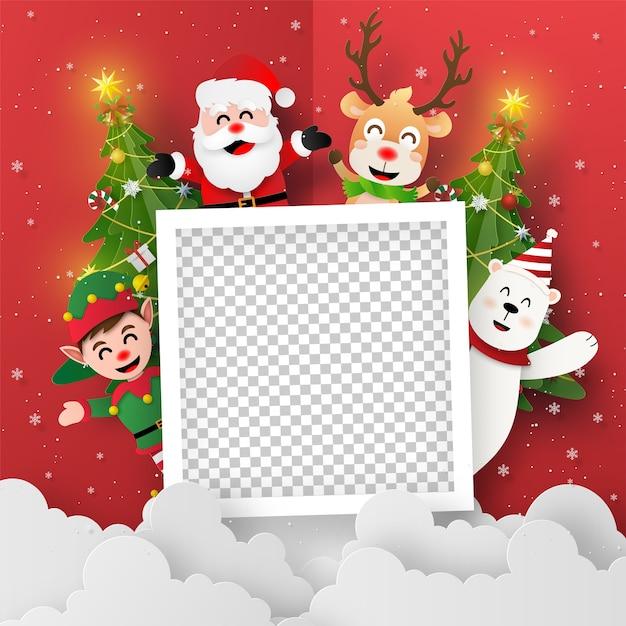 サンタクロースと友達との白紙の折り紙アート Premiumベクター