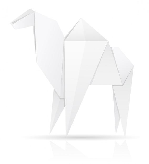 Origami paper camel vector illustration Premium Vector
