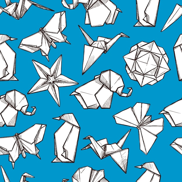 Origami paper folded figures seamless pattern Free Vector