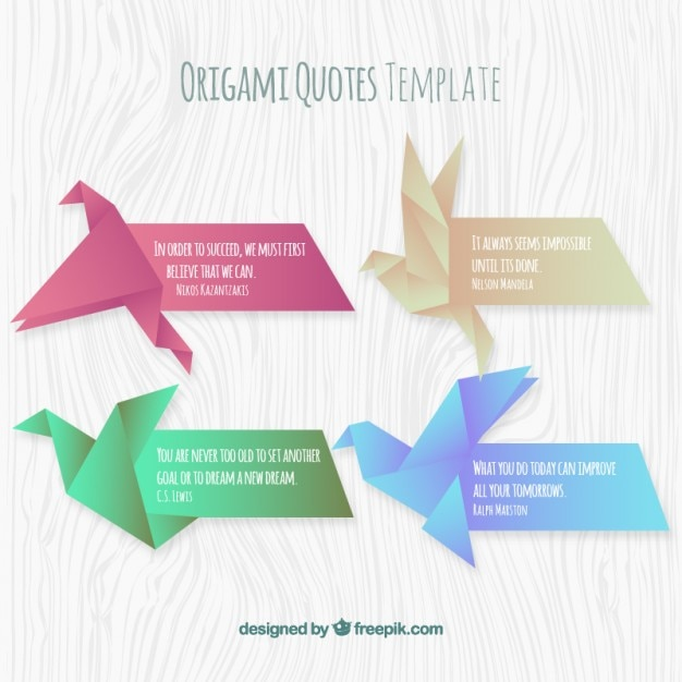 Origami Quotes Template Set Vector | Free Download