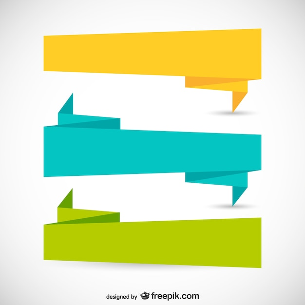 origami ribbons in different colors vector free download rh freepik com banner vector psd banner vector file