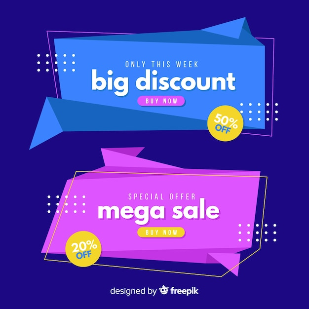 Origami sale banner collecion Free Vector