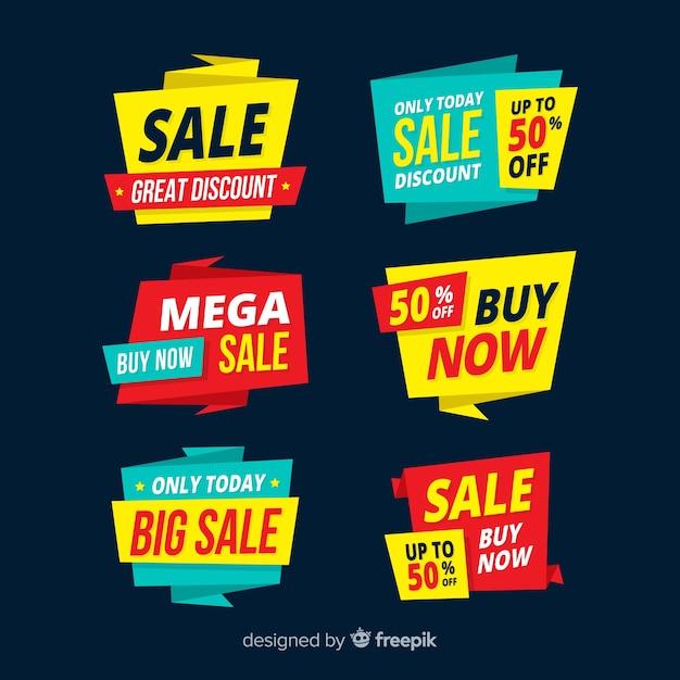 Origami sale banner collectio Free Vector