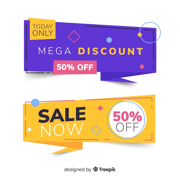 Origami sale banner collectio Free Vector