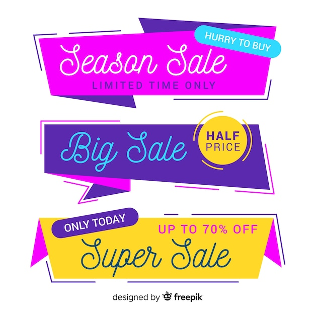 Origami sale banner collection Free Vector