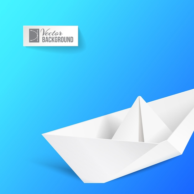 Origami ship over blue. Free Vector