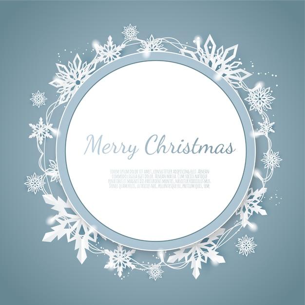 Origami snowfall, merry christmas greetings card, white paper cut snow flake, Premium Vector