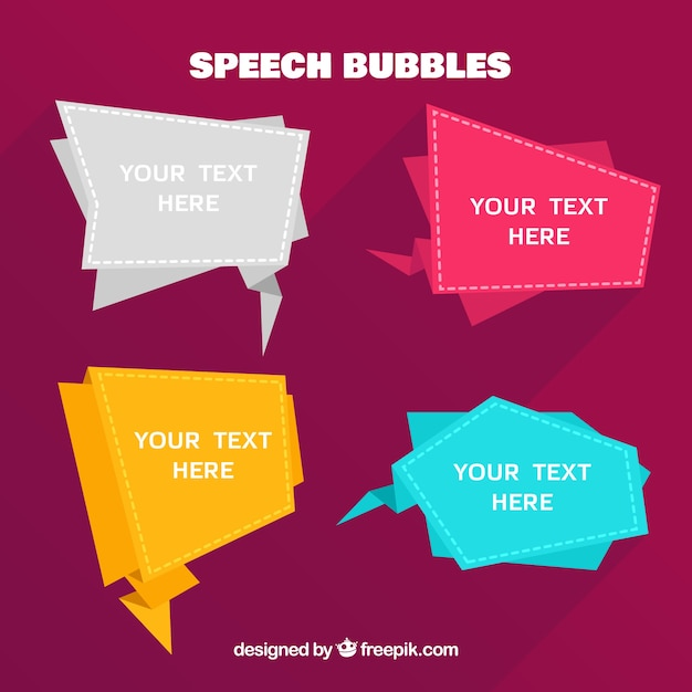 Origami speech bubbles pack