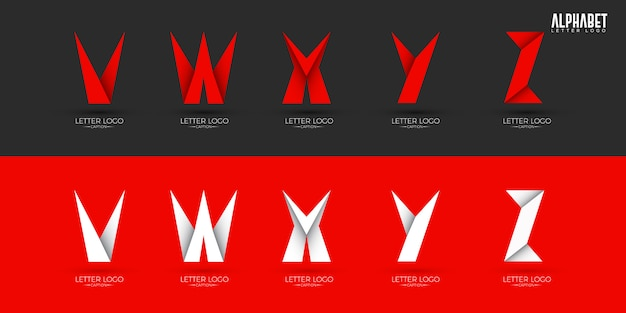 Origami style crispy alphabets logos Premium Vector