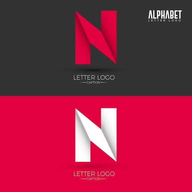 折り紙スタイルn文字のロゴ Premiumベクター