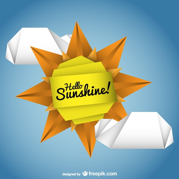 origami sun vector vector free download