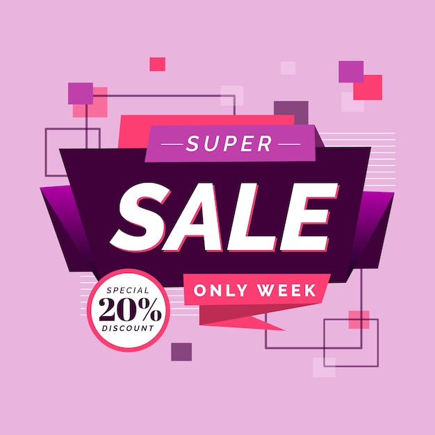 Origami theme for sales banner Free Vector