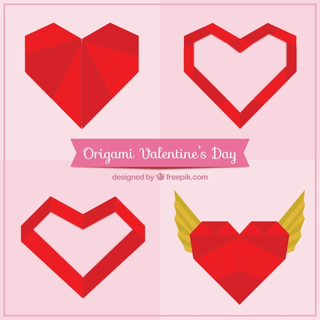 Origami valentine day elements Vector | Free Download
