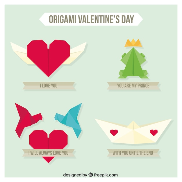 origami valentine day pack vector free download