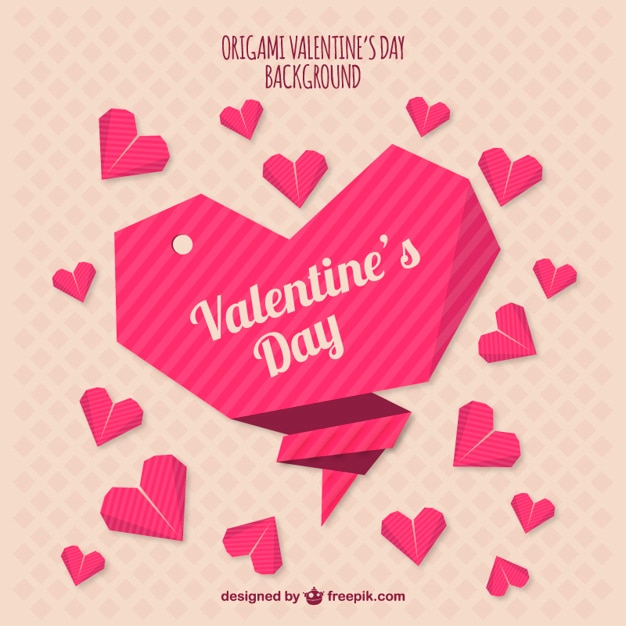 origami valentines day background vector free download