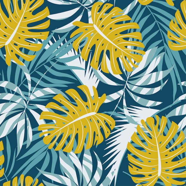 Original abstract seamless pattern with colorful tropical leaves and plants on blue background Premium Vector